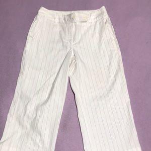 White Pinstripe Capris